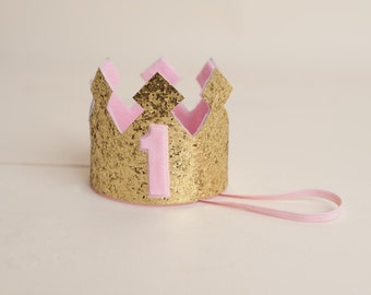 Pink and Gold 1 Crown Gold Sparkly First Birthday Crown Princess Birthday Crown