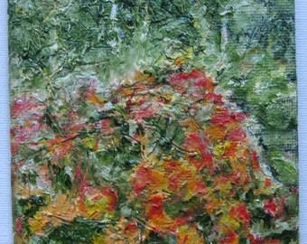 Small original oil painting of garden