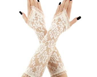 lace gloves ivory ivory gloves bridal gloves long gloves bridesmaid gloves ivory gloves without fingers fabric lace gloves ivory 4550