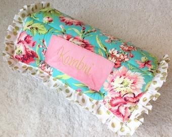 Coral Floral Nap Mat, Gold Dot Nap Mat, Gold Nap Mat, Coral Nap Mat, Designer Nap Mat, KinderMat, Fancy Nap Mat, Luxury Nap Mat