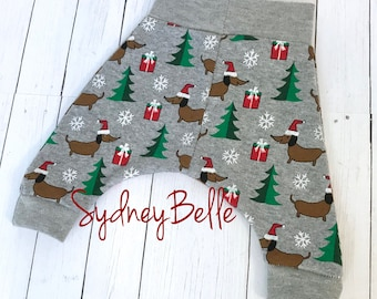 Christmas dachshund pants - newborn