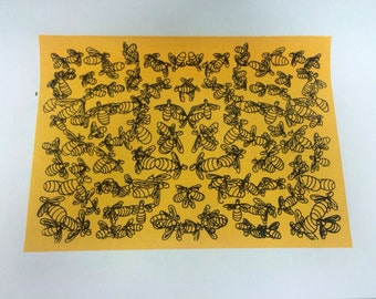 Screenprint: warm yellow background bee pattern