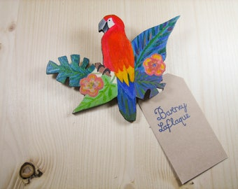 Large wooden tropical Parrot brooch