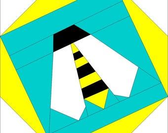 Origami Bee Block (PDF) Paper Piecing Pattern