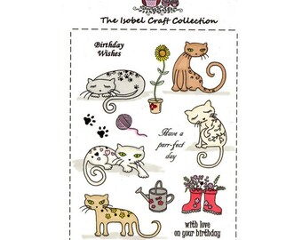 A6 set of photo-polymer clear stamps - CAT DESIGN