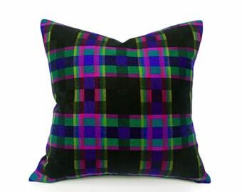 Wool Plaid Pillows, Accent Pillows, Decorative Pillows, Black Plaid Pillow, Pillow Covers, Textured, Purple, Green, 18x18, CLEARANCE SALE