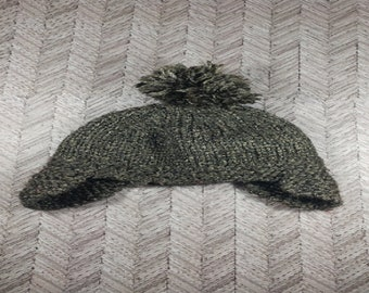 3-6 month old gray aviator winter hat with pom pom;  bulky 3-6 month old hat