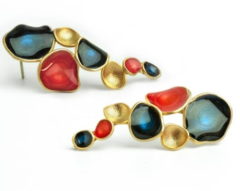 red gold earrings dark blue earrings cascade earrings for women enamel jewelry multicolor earrings jewelry statement