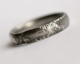 Rustic Men's Wedding Band - Oxidized Sterling Silver Ring, Comfort Fit