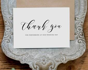 Vielen Dank für darstellende an unsere Hochzeit, Band danke Hochzeitskarte, Hochzeitskarte für Band, Hochzeit danken Ihnen Karten, Band-Dankeschön-Karte, K10