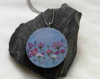 handpainted, wood, art, shizen creations, handmade,acrylic, wood necklace, wooden pendant,flowers, necklace, unique, wearable art