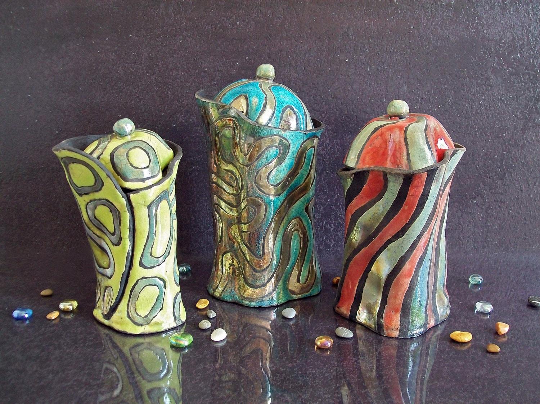 Set di barattoli da cucina in ceramica raku barattoli - Barattoli cucina colorati ...