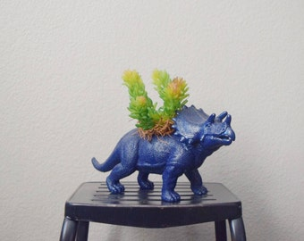 Triceratops Dinosaur Toy Planter with Faux Succulent