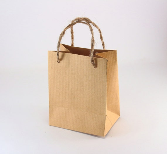 mini brown paper gift bags with handles