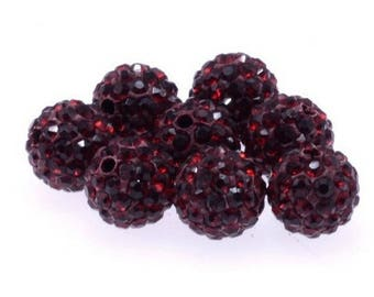 set of 50 shamballa 10mm Burgundy Crystal beads and polymer