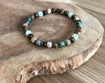 Natural stone and Silver 925 bracelet