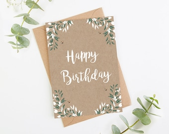 Birthday Card Botanical Kraft