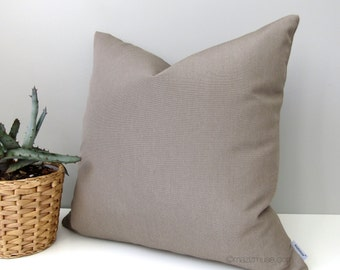 Taupe Outdoor Pillow Cover, Modern Warm Grey Pillow Cover, Decorative Throw Pillow Case, Neutral Sunbrella Taupe Cushion Cover, Mazizmuse