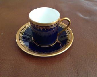 Vintage Rosenthal Cobalt Blue Demi Tasse Gold Rim Cups & Saucers Set of 10.