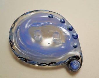 Light blue glass button, two hole paisley lampwork glass button, fiber embellishment, handmade glass button, glassbead, sewing supplies