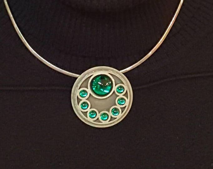 Bent Larsen Tin Denmark 1960s Pewter and Emerald Green Glass Cabochons Pendant and Sterling Omega MCM Necklace