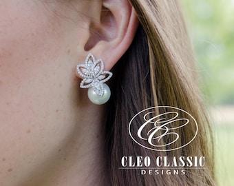 Wedding Earrings Bridal Earrings Bridesmaid Gifts Pearl Zircon Dangle Earrings Bridesmaid Earrings Women's Elegant Earrings