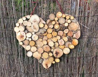 Reclaimed Wooden heart shaped wall hanging - Wedding Keepsake, New home or fifth anniversary gift. Personalisation Possible