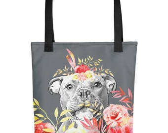 Staffordshire Bull Terrier Tote bag - Staffie Tote, Staffy Tote, Flowers