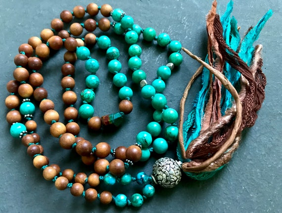 Tibetan Mala Beads - Turquoise & Sandalwood Mala Beads - Eight Auspicious Symbols - Boho Mala Beads - Buddhist Prayer Beads - Yoga Jewelry