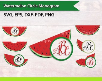 Watermelon circle monogram svg cut files for commercial use, Watermelon  in EPS, DXF, Pdf, Png format