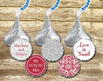 Hershey Kisses Stickers Wedding -  Red and Gray Wedding, Kisses Labels, wedding stickers, Wedding Candy Stickers, Wedding Kiss Stickers