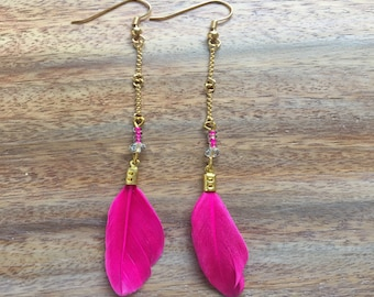 Pink gold plated feather earrings