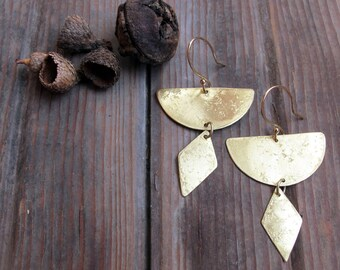 Tailfeathers - Hand-Crafted brass Earrings - Artisan Tangleweeds Jewelry