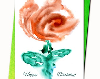 Happy Birthday, Thank you, Congratulations Card, Personalised, Any name on the cards, Bon anniversaire, watercolour