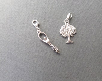 2 x Clip On Charm Witch Bracelet Wicca Jewellery Pagan Silver Witchcraft