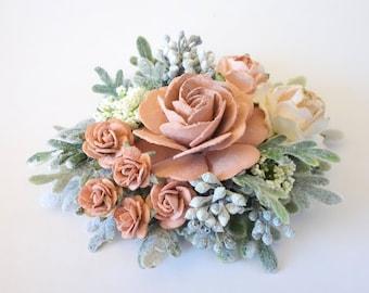 Dusty Rose Hair Clip, Floral Hairpiece, Bridal Hair Clip, Wedding Hairpiece, Floral Clip, Flower Girl Hair, Bridal Hair Accessory