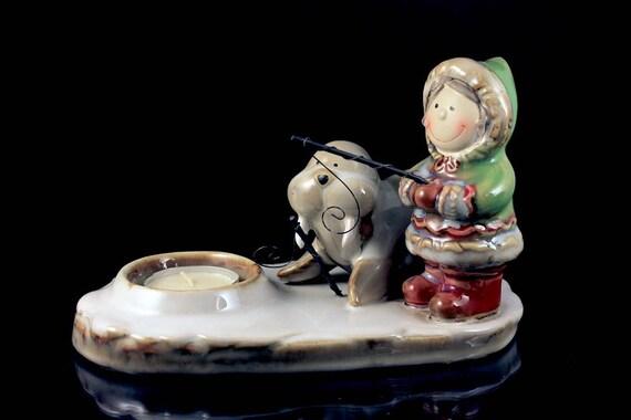 Tea Candle Holder, Yankee Candle, Eskimo and Walrus, White Tea Candle, Figurine, Collectible