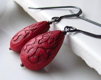 Fire Engine Red Earrings, Deep Red Teardrop Earrings, Ornate Carved Acrylic Earrings, Rustic Oxidized Sterling Silver