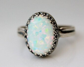Sterling Silver Opal Ring, Large Opal Rings, October Birthstone Ring, Opal Jewelry, White Opal Ring, Adjustable Rings, Gifts For Her