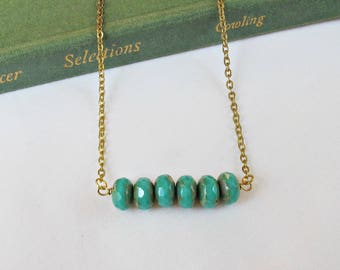 Turquoise Bar Necklace Jewelry - Jewellery For Women Green Gold - Delicate Dainty Beach Ocean Summer - Beaded Birthday Gift Chain Czech
