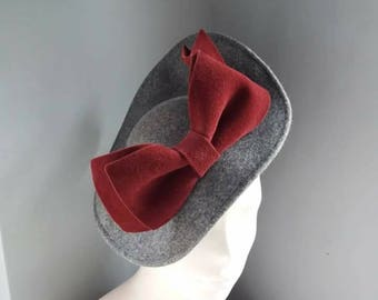 Grey and Burgundy Felt Saucer Hat Wedding