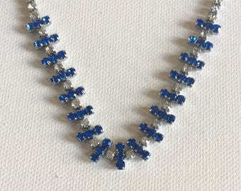 Vintage necklace.  Blue and white stones. Wedding. Brides. Bridesmaid. Party. Prom.