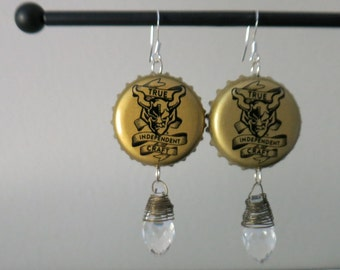 Stone Brewing Bottle Cap Earrings with Wire wrapped faceted glass bead