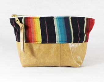 Repurposed Materials Rainbow Stripe & Tan Leather Zipper Pouch