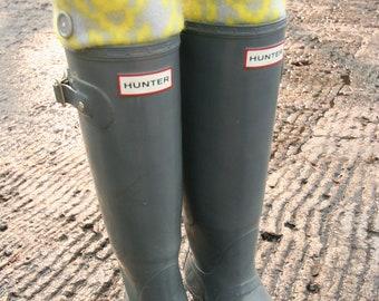 SLUGS Fleece Rain Boot Liners Grey With Neon Tribal Cuff, Fall Winter Fashion, Wellington Boot Socks, Boot Cuffs (SM/MED 6-8 Boot)