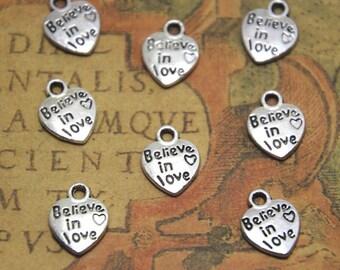 50pcs Believe in love Charms silver tone Believe in love heart Charm Pendants 13x10mm ASD1524