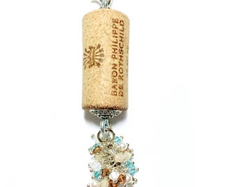 Turkey Trots & Giblet Grenache color-burst cork floating keychain with Swarovski crystals
