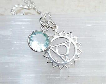 Throat Chakra necklace. Vishuddha chakra. Throat Chakra Vishuddha pendant. Chakra necklace. Chakra jewelry. Yoga jewelry.Blue Topaz necklace