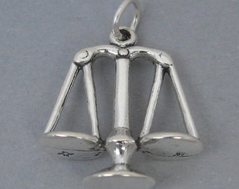 SCALES Of JUSTICE Sterling Silver 925 Charm Pendant 3D Libra Law Judge 2700