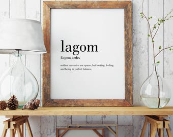 Lagom Definition Print | Modern Print | Swedish Art | Minimal Print | Wall Decor | Lagom Print | Type Poster | Lagom Gift | INSTANT DOWNLOAD